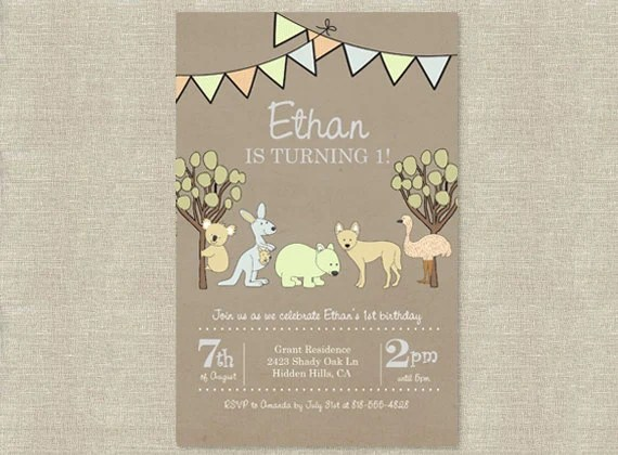 Items Similar To Australian Animals Birthday Invitation