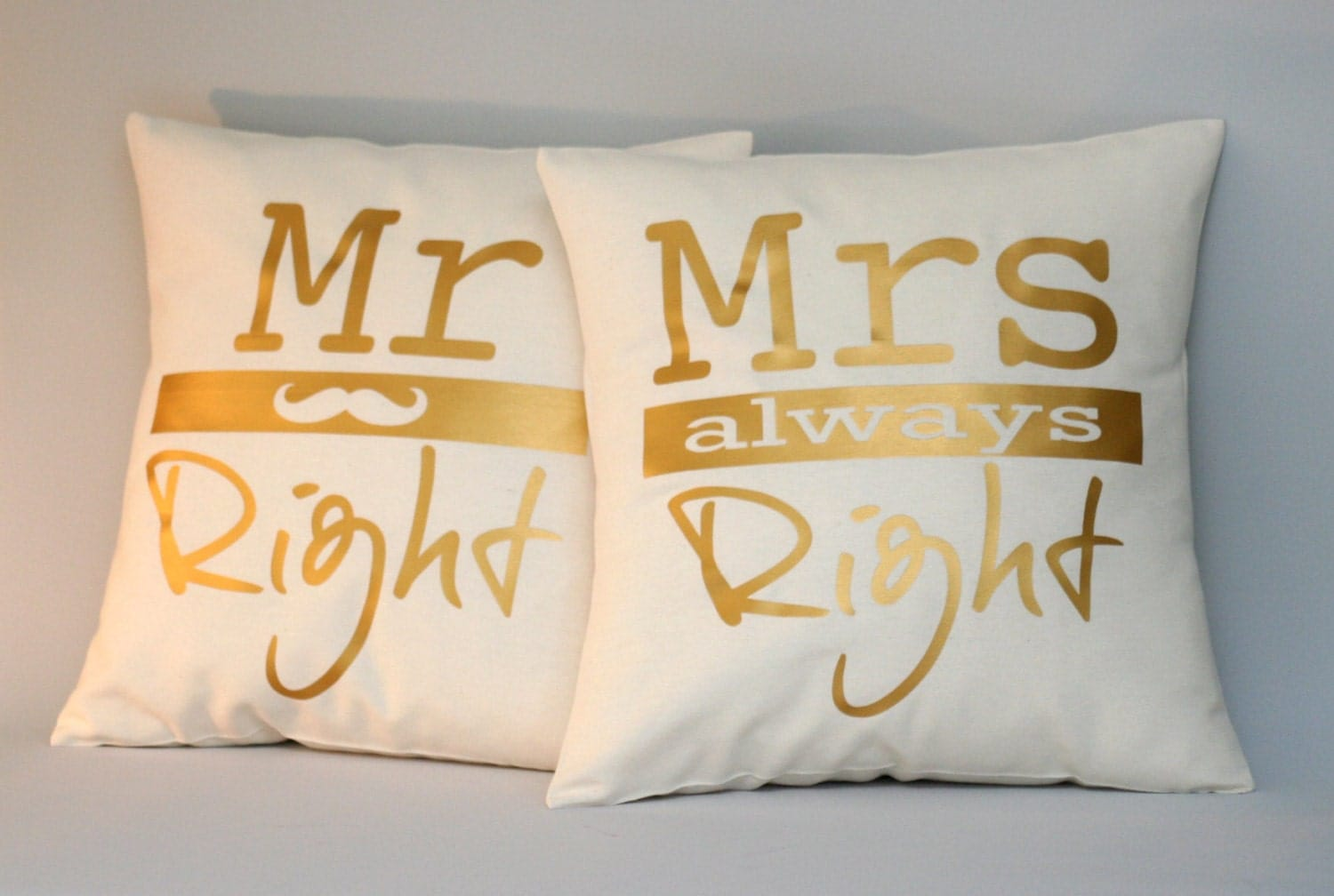 Mr Right Mrs Always Right Bettwäsche Mr Right And Mrs Always Right Pillow Cover Wedding Gift
