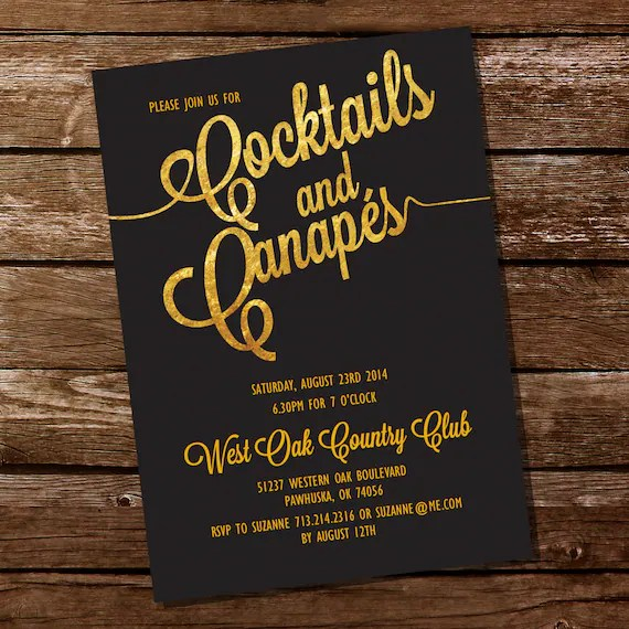 Cocktail Party Invitation - Canapes Invitation - Gold Cocktails