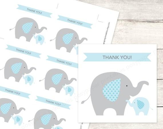 elephant baby shower favor tags printable DIY baby boy elephants
