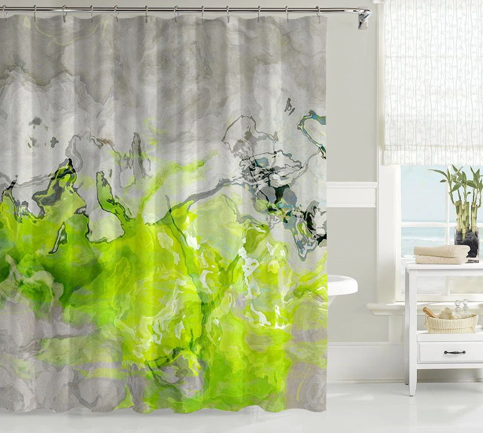 Contemporary shower curtain abstract art bathroom decor lime green and warm gray waterproof fabric shower curtain lime love