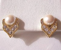 Monet Pearl Crystal Clip On Earrings Gold Tone Vintage White