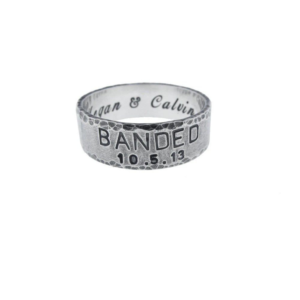 custom sterling silver banded wedding duck band wedding ring zoom