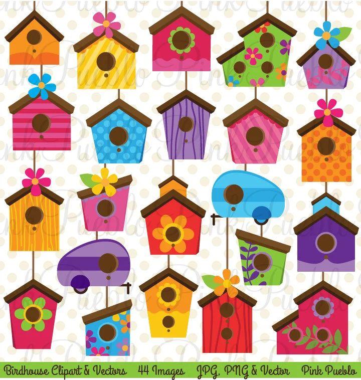 Birdhouse clip art clipart cute whimsical bird house clipart