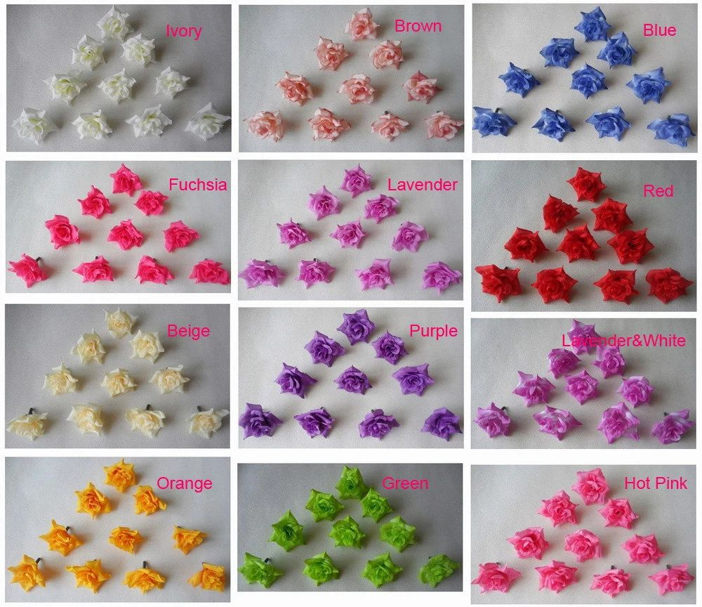 4cm silk rose flower heads artificial flower heads 100pcs for wedding decor hair clips corsage diy crafts wholesale lots