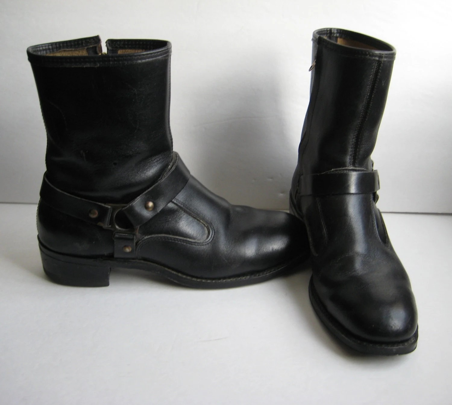 Vintage Motorcycle Boots Iron Age Harness Strap Biker Moto