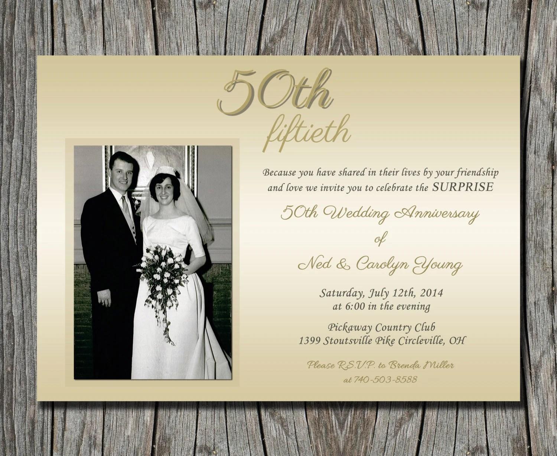 50th Wedding Anniversary Surprise Party Invitation Wording