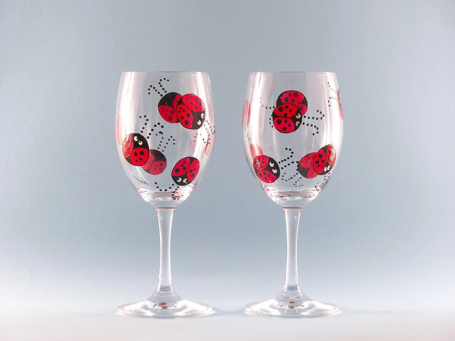 Cute Glassware Hand Painted Ladybug Wine Glasses Cute Ladybug Design