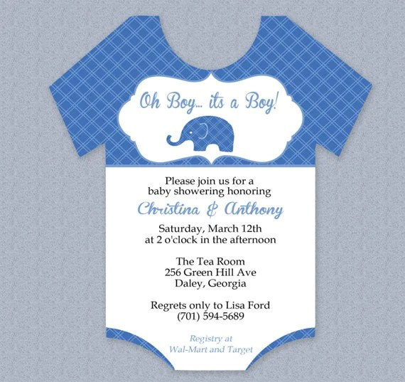Plaid Elephant Onesie Baby Shower Invitation Editable Cutout - baby shower invitations for word templates