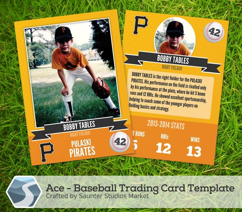Ace Baseball Trading Card 25 x 35 Photoshop - trading card template