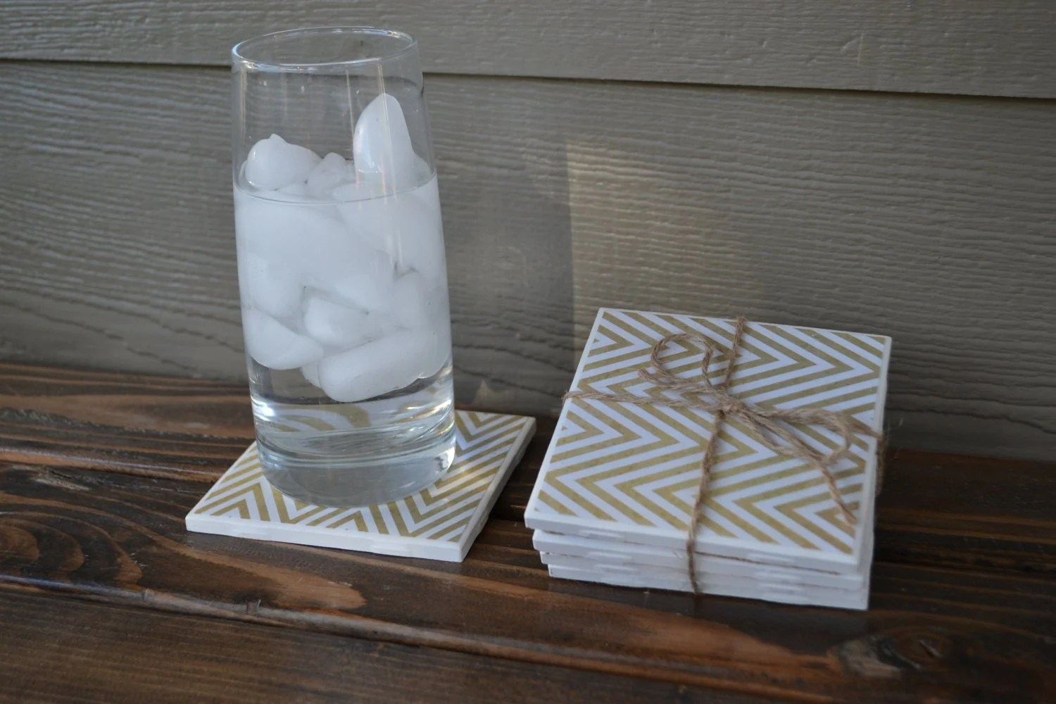 White And Gold Coasters Set Of 4 Tile Coasters Gold And White Chevron Wedding
