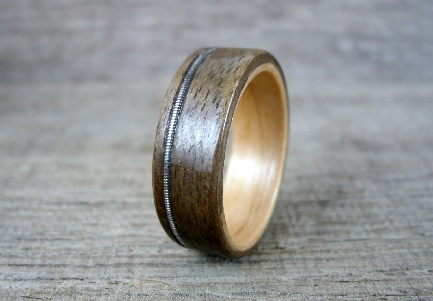 guitar string ring wood inlay ring wooden wedding rings zoom