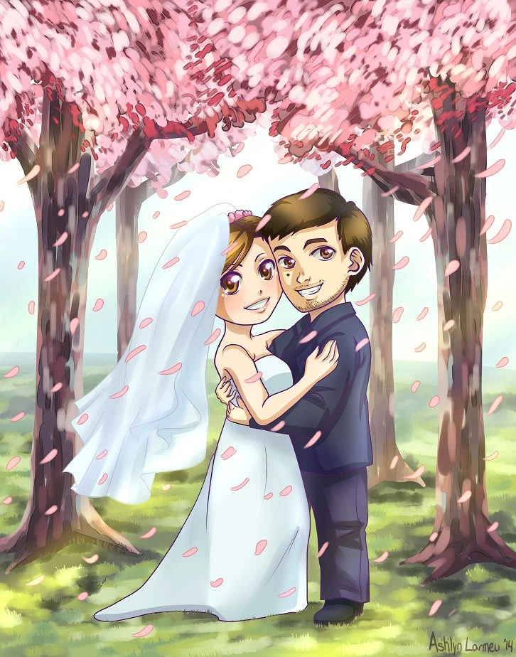 Wallpaper Cartoon Cute Couple Custom Chibi Couple With Detailed Background Wedding