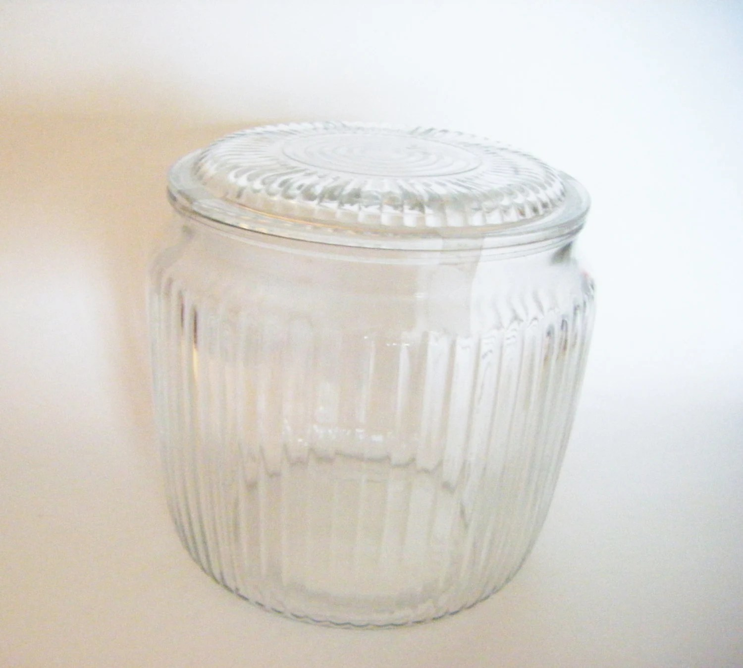 Modern Cookie Jar Mid Century Modern Ribbed Depression Glass Biscuit Jar Cookie