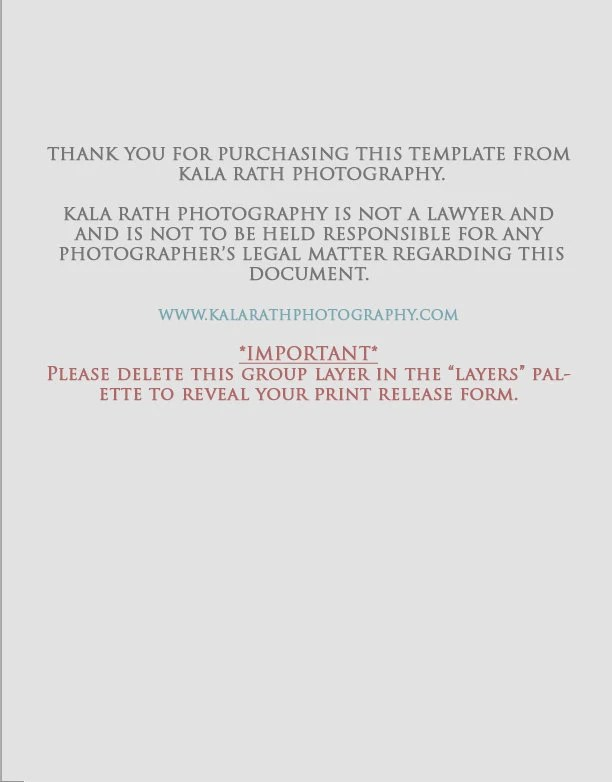 Photographers Print Release Form Digital Download for - print release form