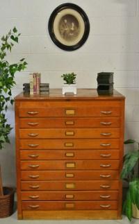 Vintage Industrial Oak Blueprint Cabinet Storage Wood Art Flat