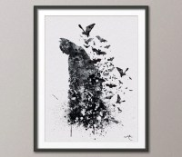 Batman inspired Watercolor Painting Print Fine Art by ...