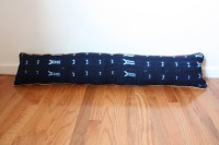 Indigo extra-long lumbar pillow with braided peach trim chic