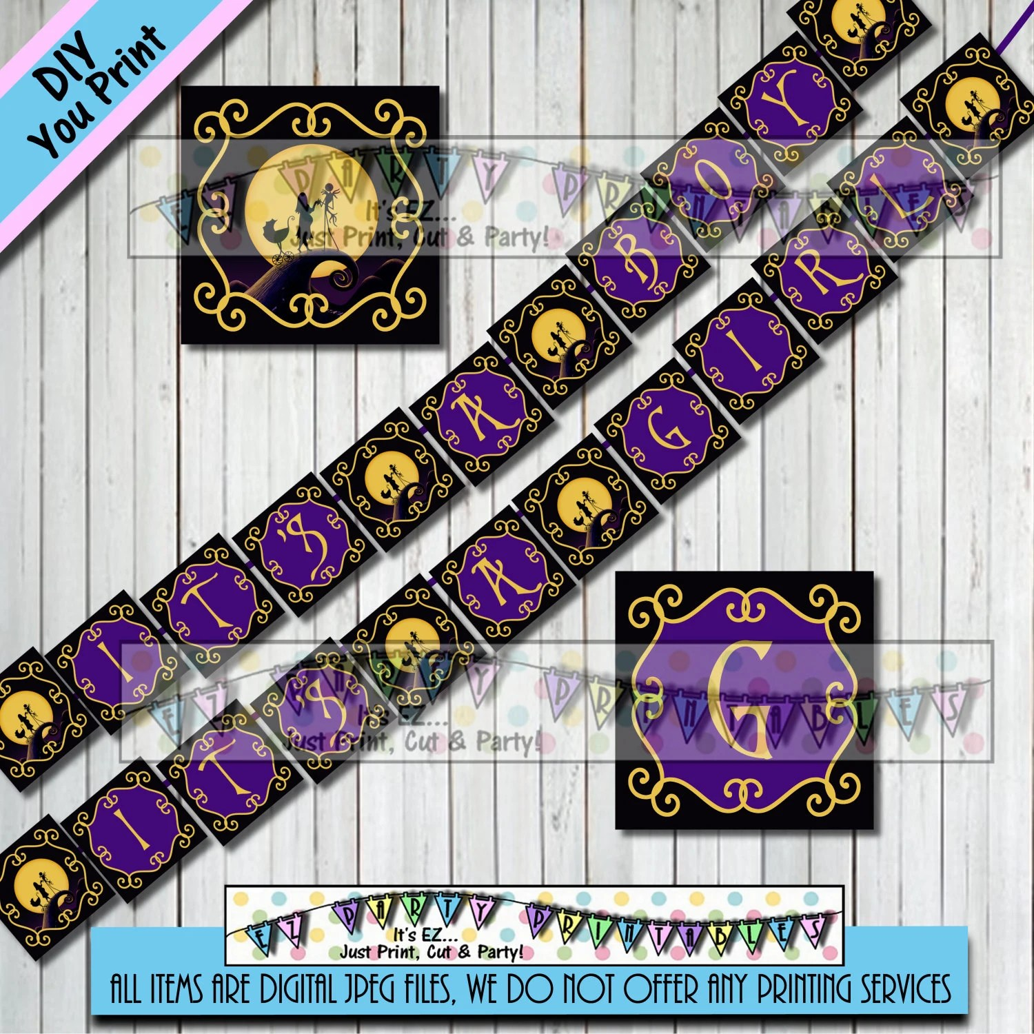 BABY SHOWER BANNER Nightmare before Christmas Itu0027s a Girl - nightmare before christmas baby shower decorations
