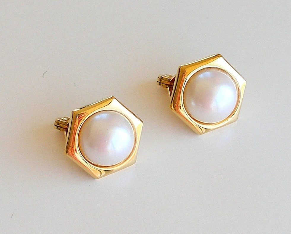 Vintage Pearl Button Earrings Monet Signed Designer Gold Clip