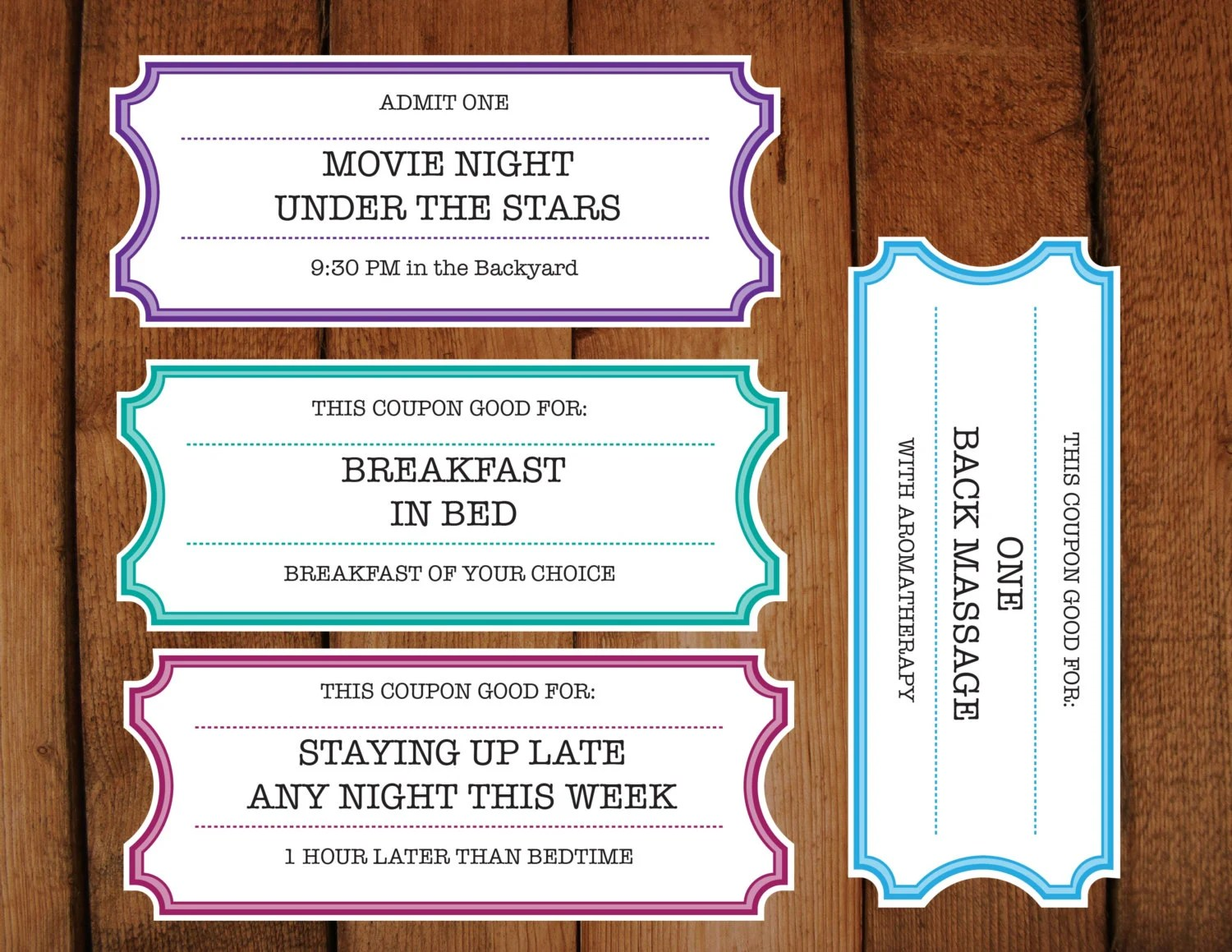 Printable Coupons \/ Tickets \/ Vouchers DIY Printable - create your own movie ticket