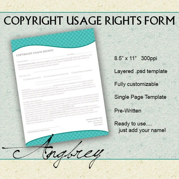 Copyright Usage Rights Form for Photographers Print Release - print release form