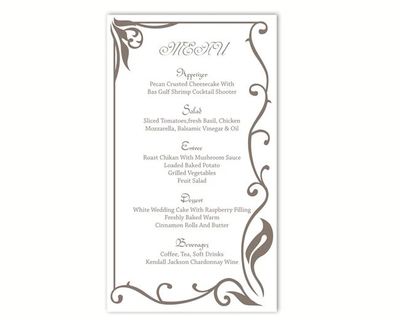 Wedding Menu Template DIY Menu Card Template Editable Text - free menu templates for word