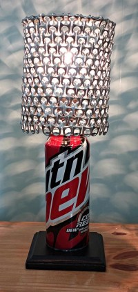 Mountain Dew Code Red Soda Can Lamp with Pull Tab Lamp Shade