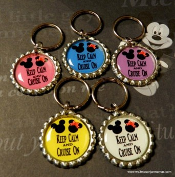 10 Pc Disney Inspired Keep Calm & Cruise On Bottle Cap  1 Inch Round Key Chains/Rings Gifts Fish Extenders