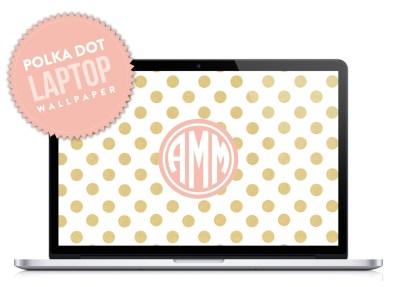 Polka Dot Monogram Laptop Desktop Wallpaper by DesignbyDre on Etsy