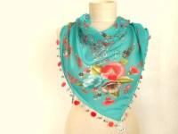 scarf for women mint green triangle scarf Oya Scarf