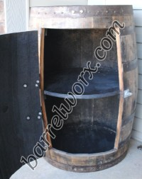 whiskey barrel outdoor liquor cabinet / lawn & garden cabinet
