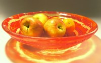 Red Yellow Fruit Bowl-FREE UK DELIVERY-The Red Swirl 30cm