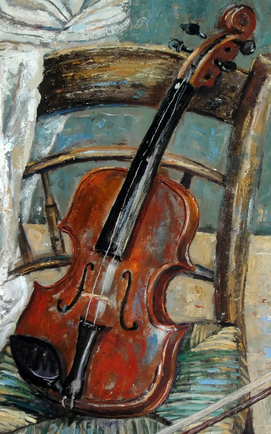 Cuadros De Violines Still Life Oil Painting Original 'violin On Chair'. By
