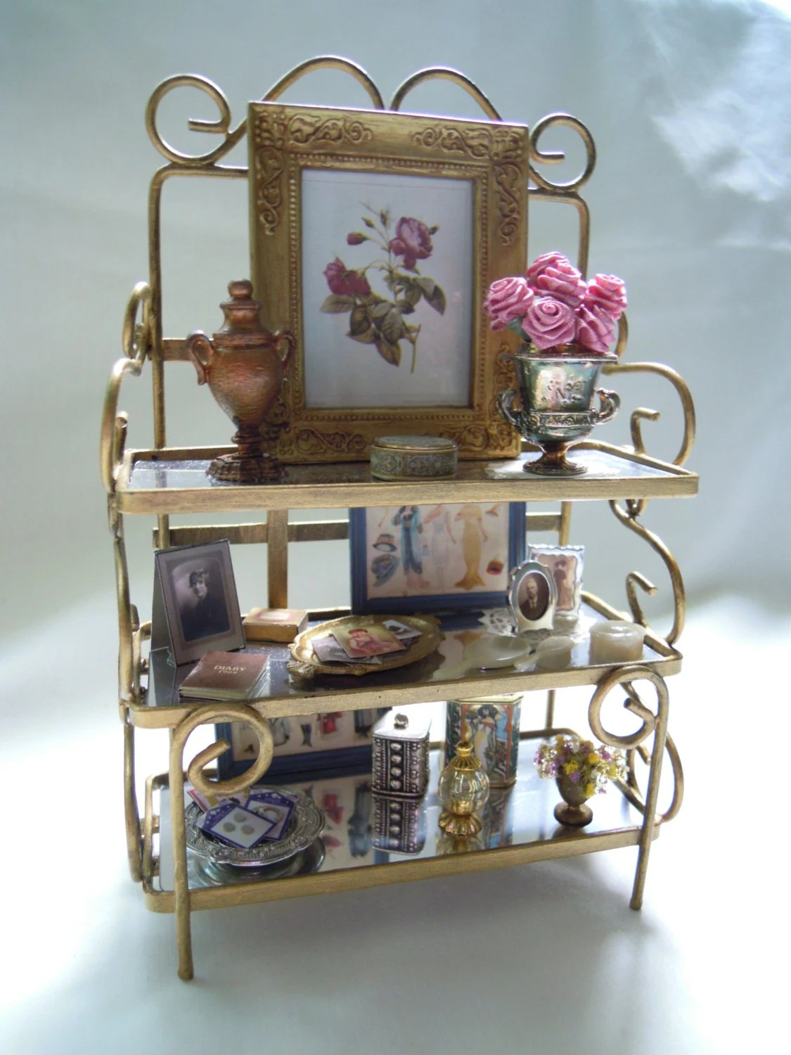Miniature Baker39s Rack With Vintage Accessories Framed