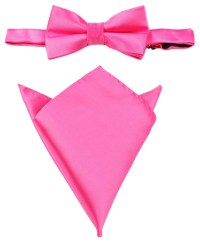 Matching Bow Tie Pocket Square Combo Hot Pink Solid Color