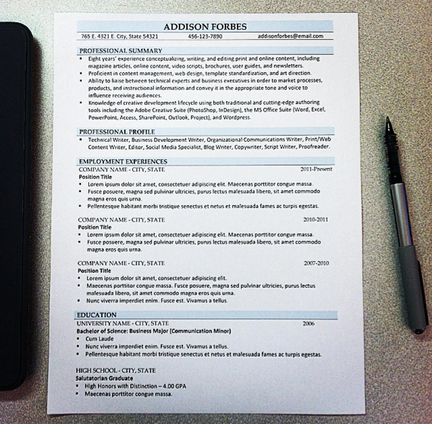 Using Resume Templates When Changing Careers