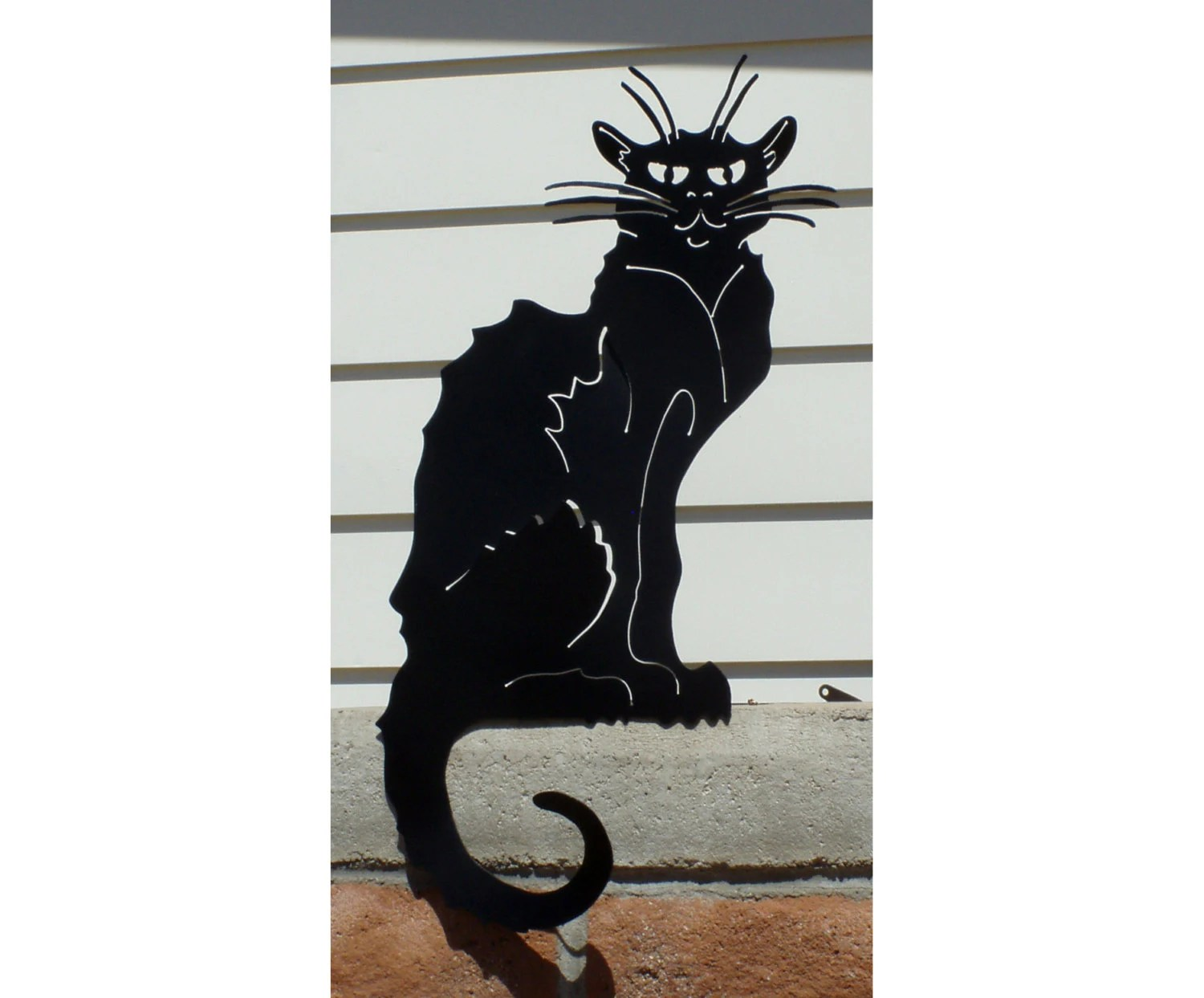 Cat Wall Art Metal Metal Black Cat Yard Art Le Chat Noir Garden Art Wall