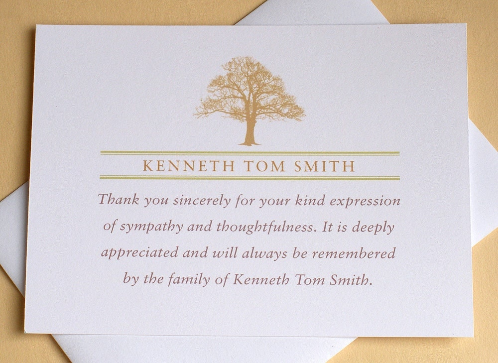 Funeral Thank You Notes with a Strong Tree Personalized - funeral thank you note