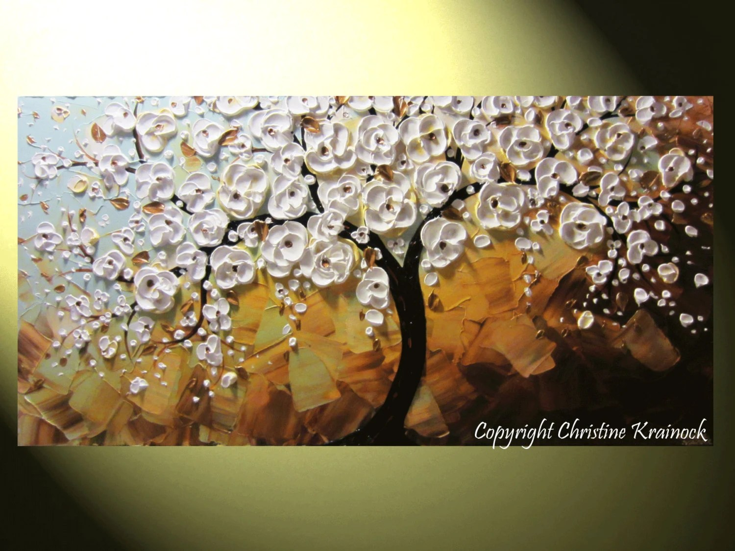 Tableau En Relief Moderne Custom Art Abstract Painting White Cherry Tree Painting
