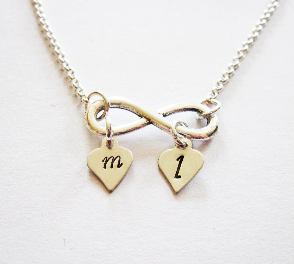 Personalized Infinity Necklace Initial Necklace Silver