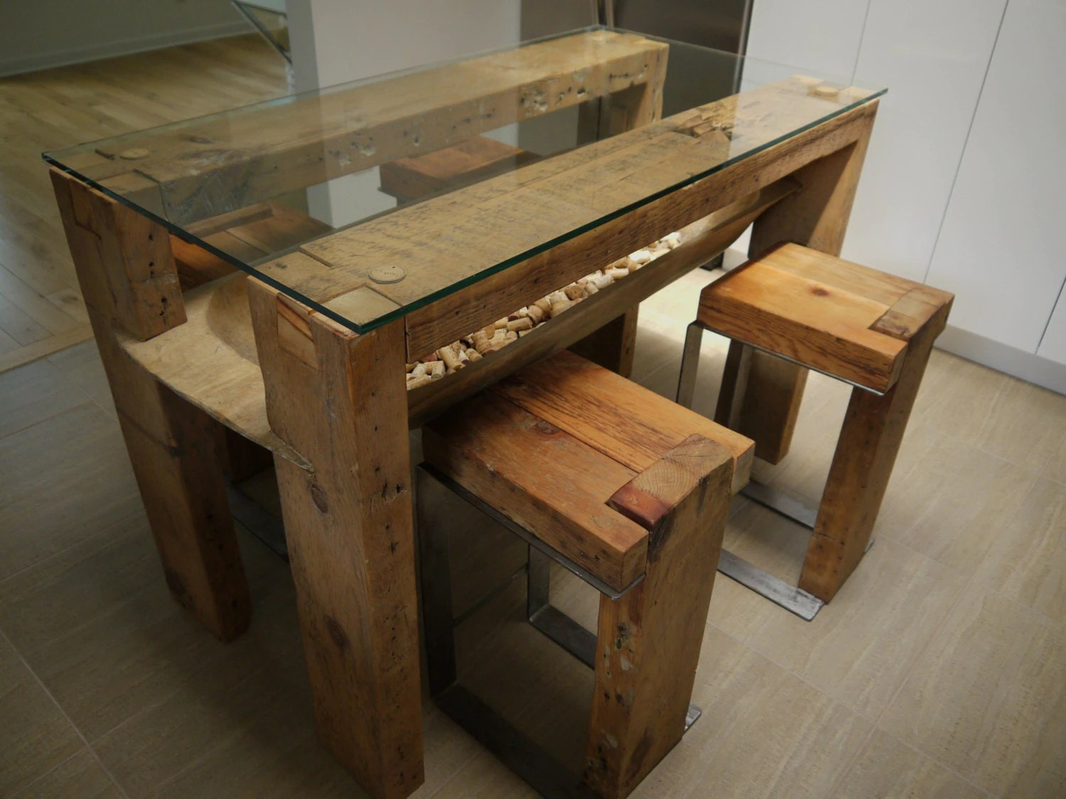 reclaimed wood dining table glass top wooden kitchen table Reclaimed Wood Kitchen Island Handmade Rustic Table zoom