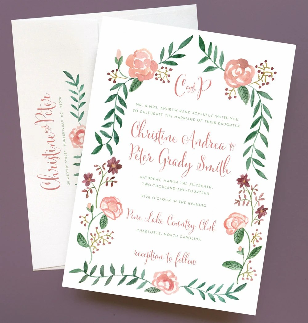 Watercolor Flower Wedding Invitation With Flower By