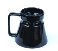 Black Ceramic Travel Mug No Spill Wide Base Narrow Top Ceramic