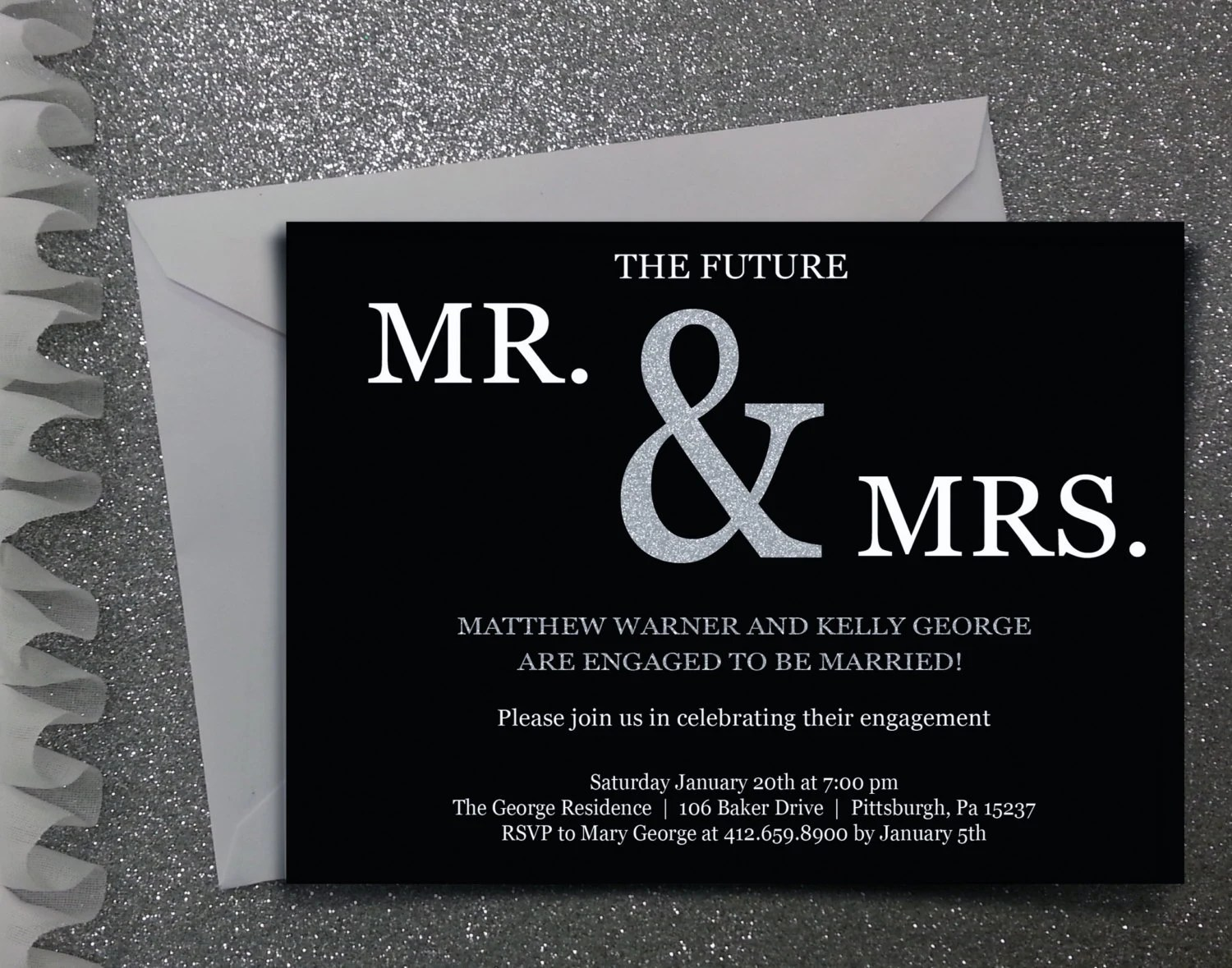 Future Mr Mrs Engagement Party Invitation Digital File