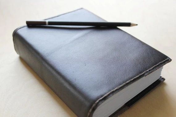 graph paper journal leather