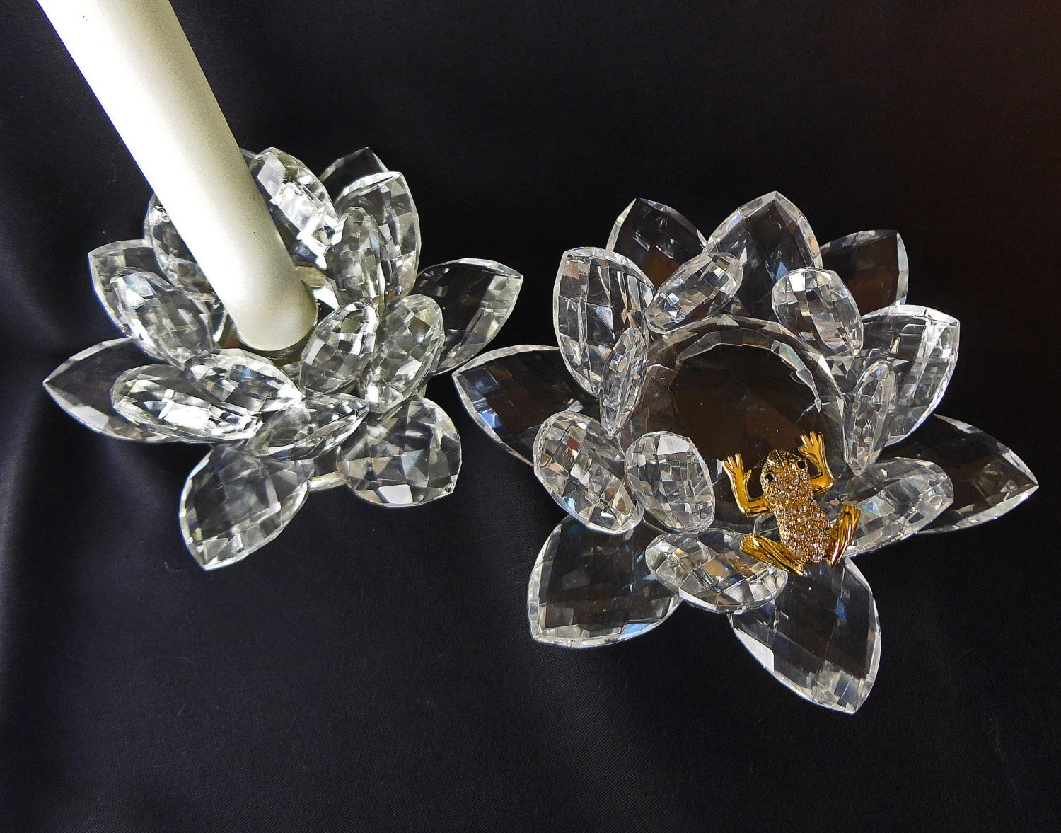 Shannon Crystals Candle Holder And Lotus Blossom With Gold