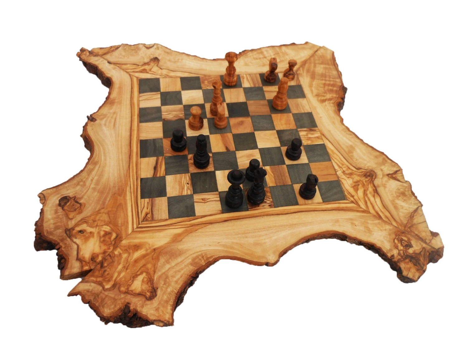 Personalized Chess Set Gift Olive Wood Chess Board Set Personalized Wood Natural Edges