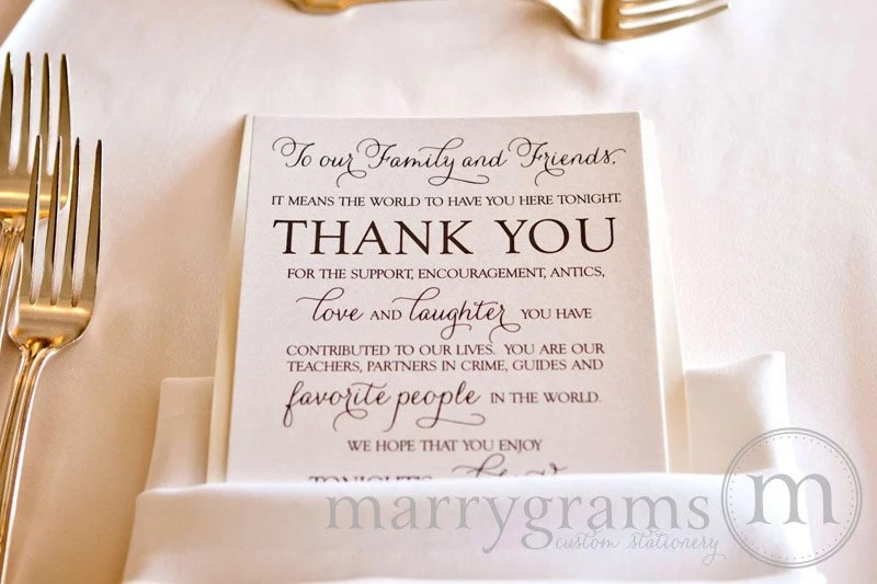 Wedding Reception Thank You Card to Your Guests To Our