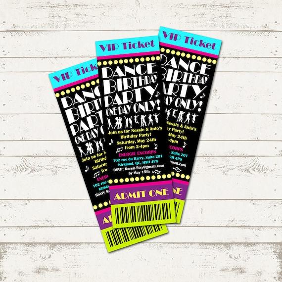 Dance Party Birthday Invitation - Ticket Invitation - Musical
